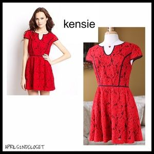 RED FLORAL LACE SHORT SLEEVES A-LINE PARTY DRESS